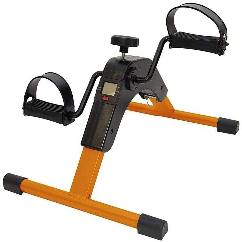 Portable Folding Pedal Exerciser Strong Desk Cycle with LCD Monitor Hand,Arm & Leg Exercise Low Impac Adjustable Fitness Rehab Equipment for Seniors 324 (Color : Gold)