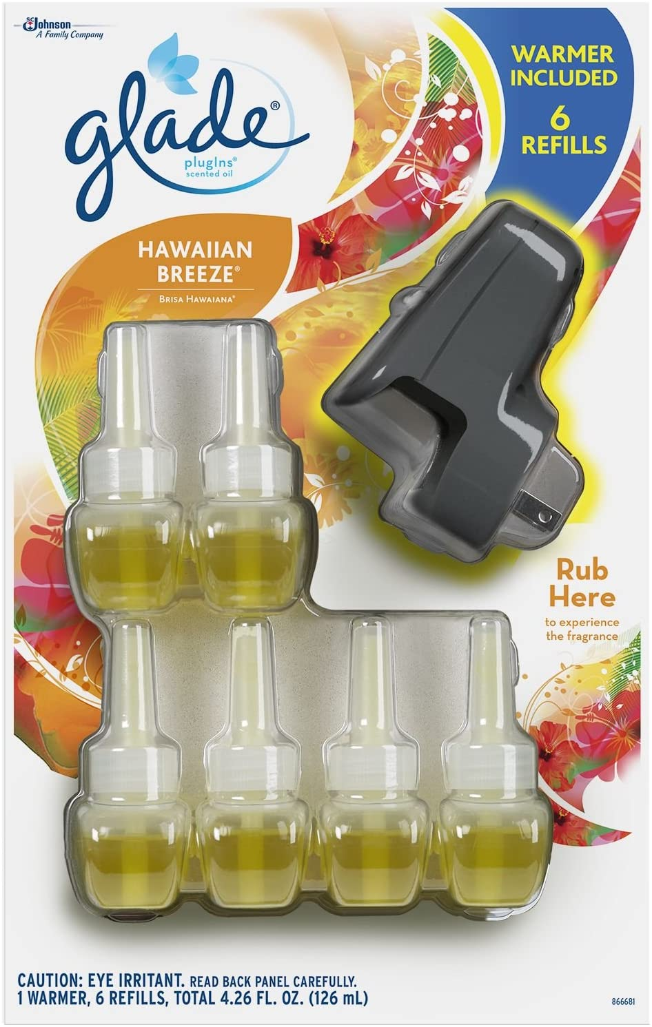 Glade Plugins Scented Oil Warmer Plus 6 Refills (2 Pack) by Glade
