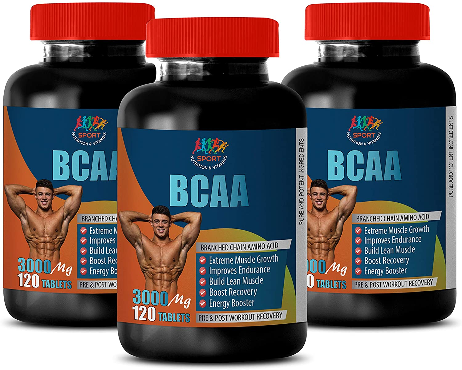 Muscle gain pre Workout - BCAA 3000MG - PRE and Post Workout Recovery - Amino acids bcaa Pills - 3 Bottles 360 Tablets