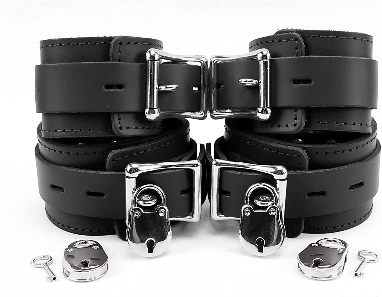 Atlanta Wrist and Ankle Cuffs Combo Premium Genuine Leather