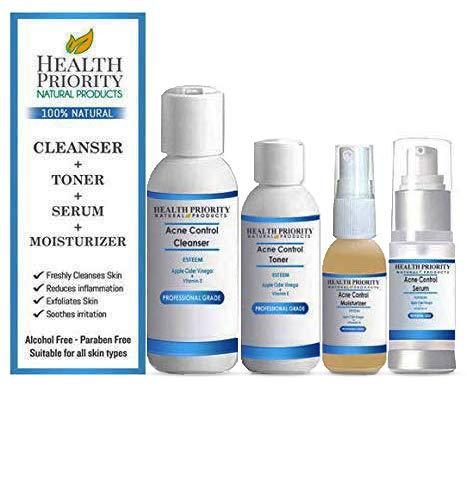 Natural & Organic Acne Control, Apple Cider Vinegar Cleanser + Toner + Serum + Moisturizer