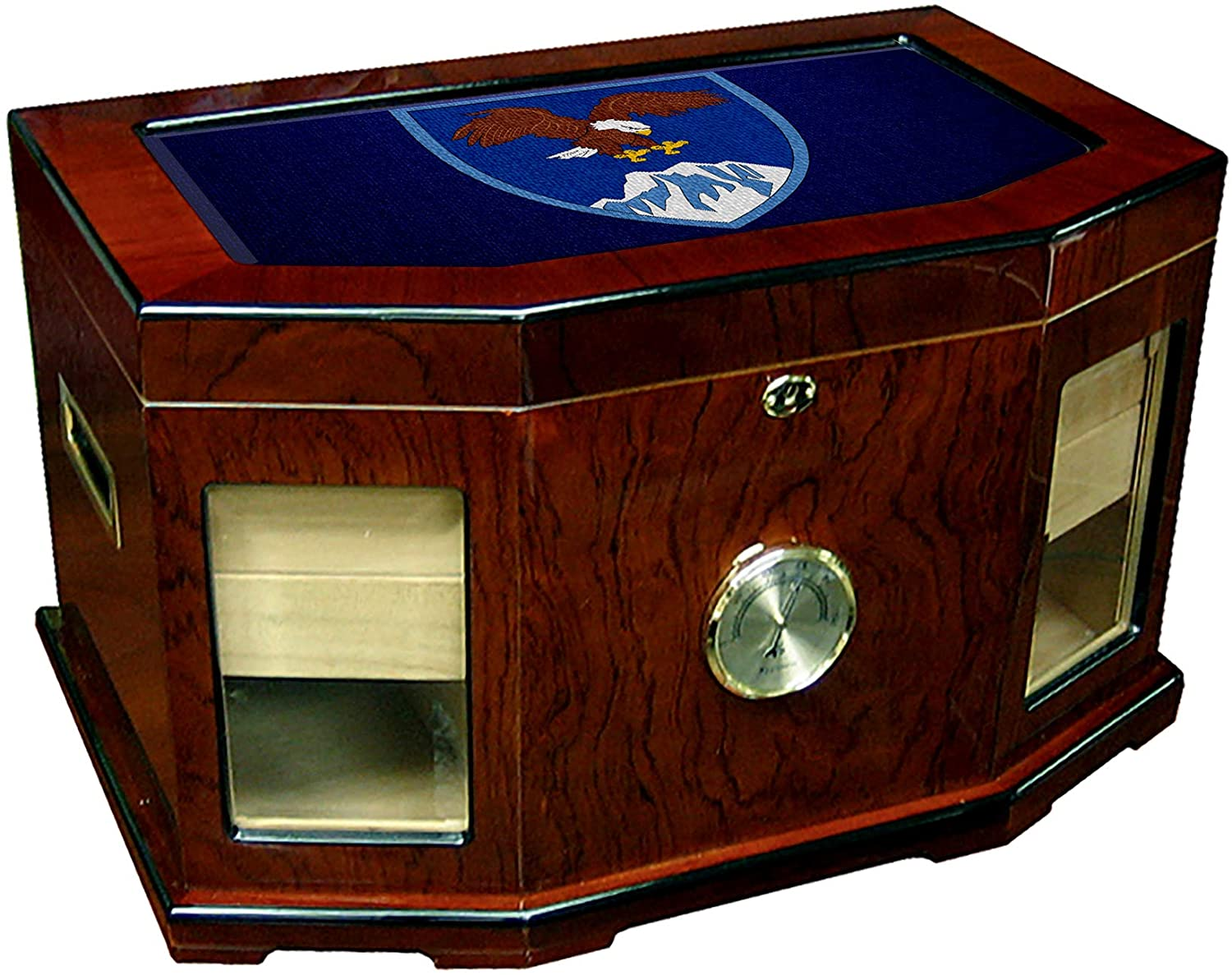Large Premium Desktop Humidor - Glass Top -US Combined Forces Command-Afghanistan, Shldr Sleeve