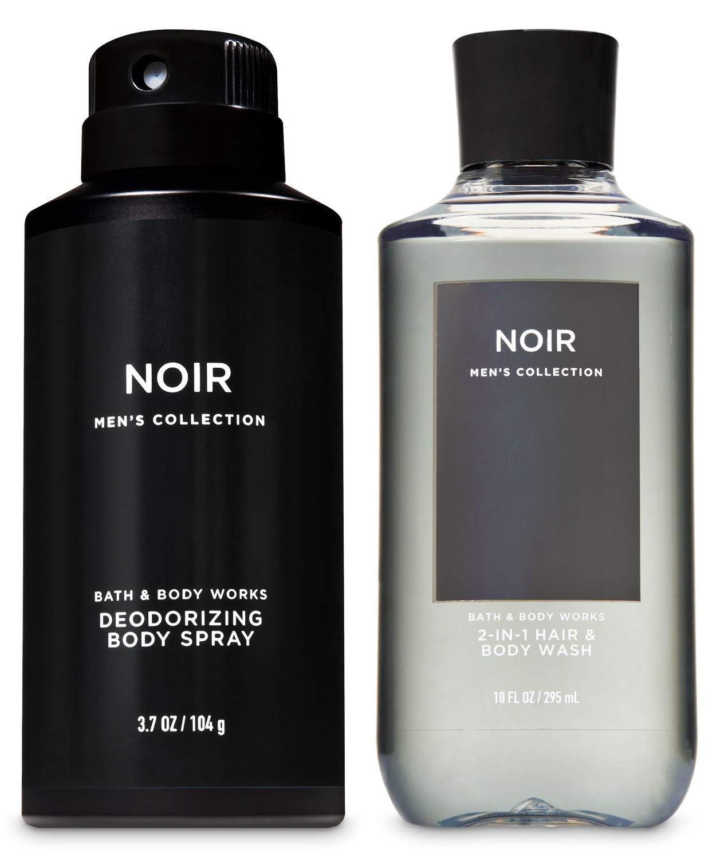 Bath & Body Works Noir Mens Collection Deodorizing Body Spray & 2-in-1 Hair + Body Wash - Set