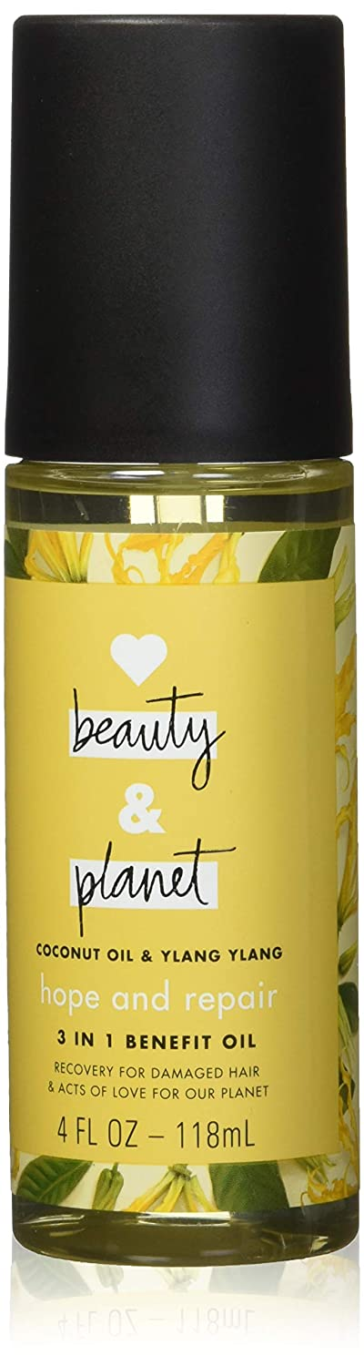 Love Beauty and Planet 3-in-1 Benefit Oil for Unisex, Coconut Oil and Ylang Ylang, 4 Ounce