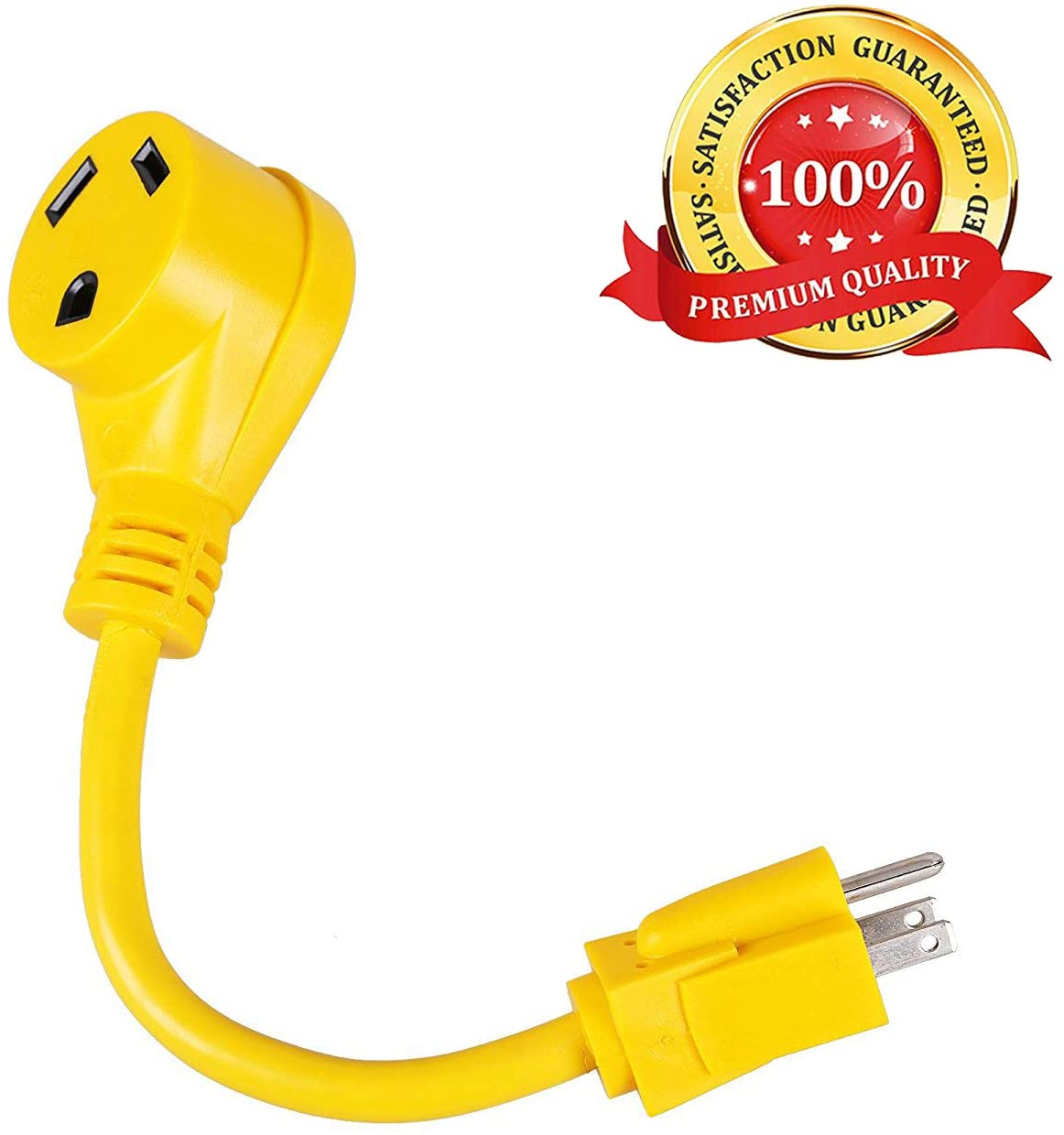 Epicord RV Power Cord Dogbone Adapter,Innovative 180 Degree Curved Design-15 Amp Male to 30 Amp Female,12'' 12AWG/3Cord