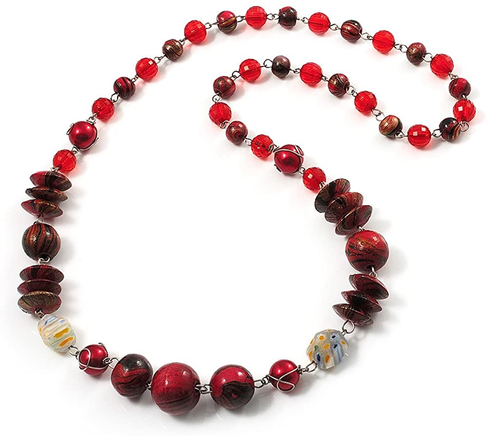 Avalaya Red & Black Bead Necklace (Silver Tone) - 62cm