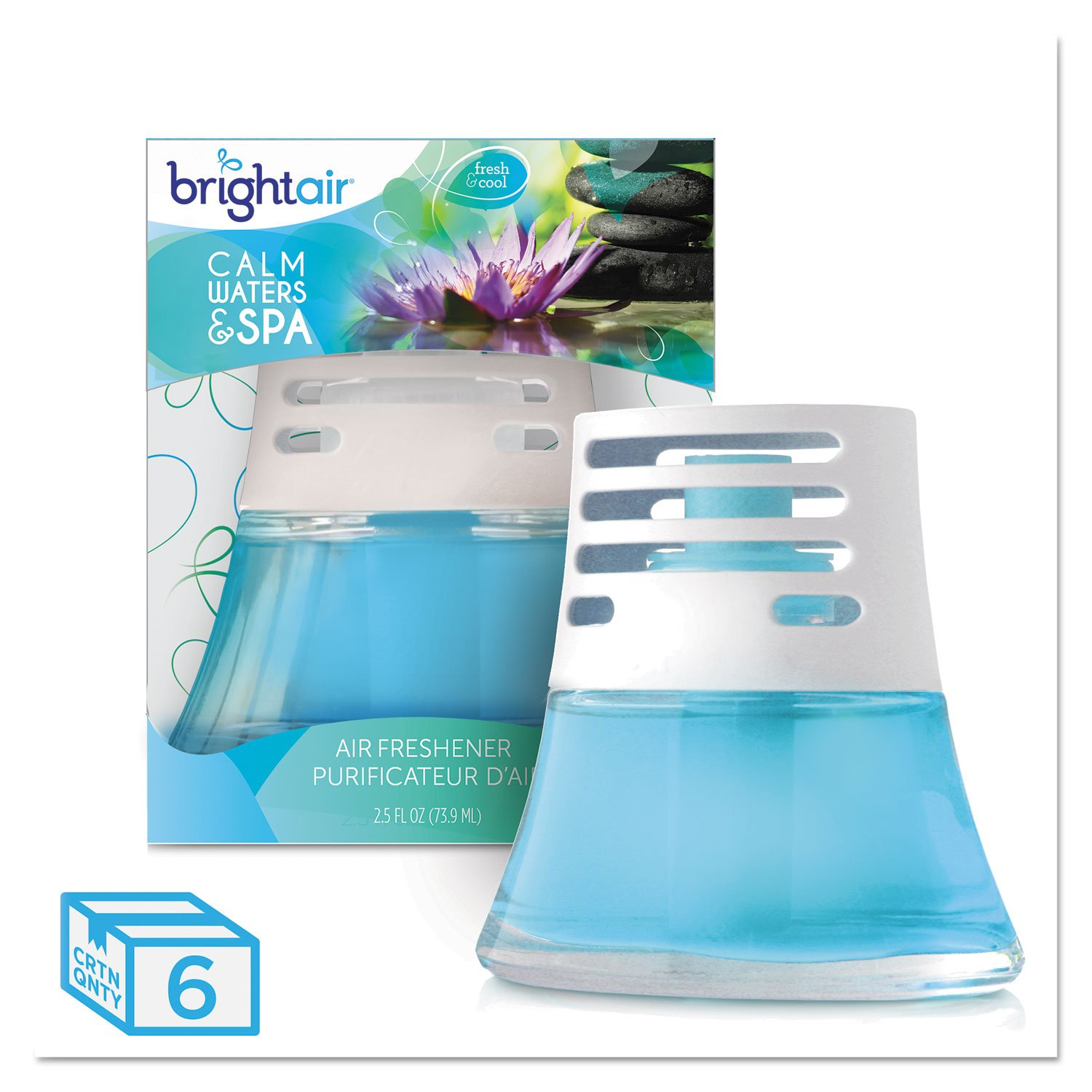 BRIGHT Air 900115CT Scented Oil Air Freshener, Calm Waters and Spa, Blue, 2.5oz (Case of 6)