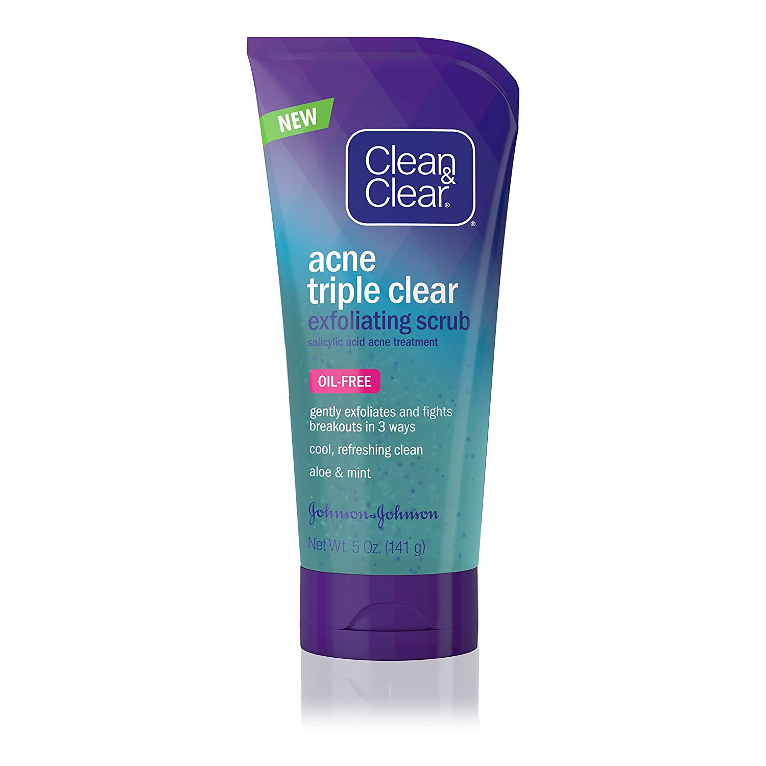 Clean & Clear Acne Triple Clear Exfoliating Facial Scrub with Salicylic Acid Acne Medicine, Aloe & Mint for Acne-Prone Skin Care, Oil-Free & Non-Comedogenic, 5 oz (Pack of 6)