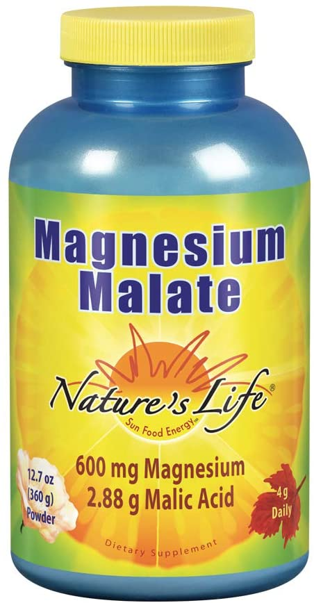 Nature's Life Magnesium Malate Powder with Malic Acid, 600mg | Healthy Heart, Muscle & Bone Health Support | 90 Servings