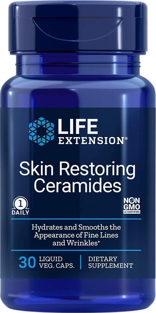 Life Extension Skin Restoring Ceramides, 30 Liquid Vegetarian Capsules (Packaging may vary)