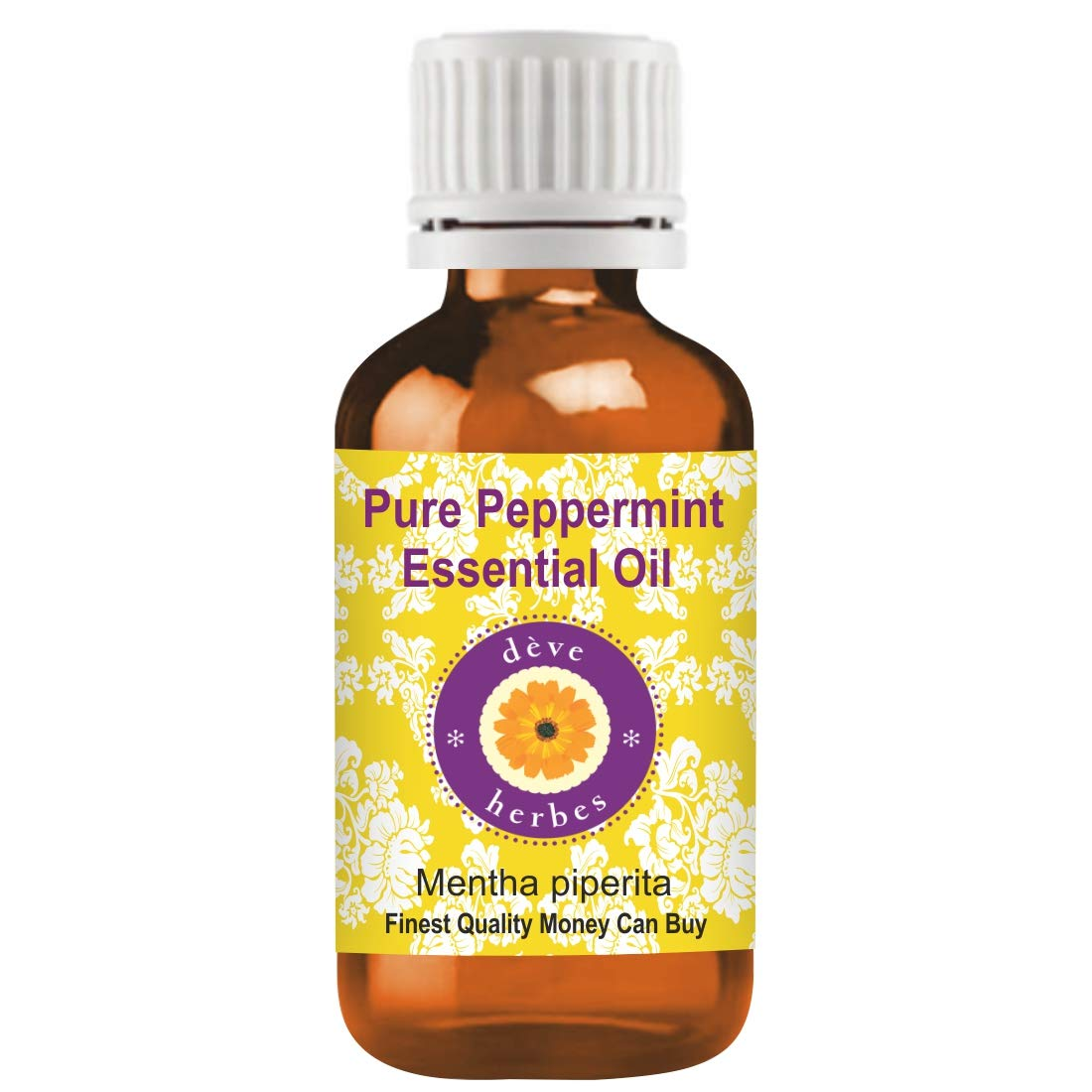 Deve Herbes Pure Peppermint Essential Oil (Mentha piperita) 100% Natural for Aromatherapy, Relaxation, Skin, Hair and Massage Therapeutic Grade Steam Distilled 50ml