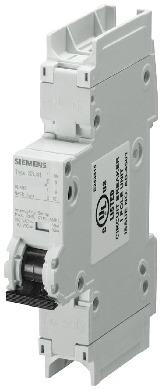 Siemens 5SJ41017HG41 Miniature Circuit Breaker, UL 489 Rated, 1 Pole Breaker, 1 Ampere Maximum, Tripping Characteristic C, DIN Rail Mounted, Type HSJ, 240 VAC, 60 VDC
