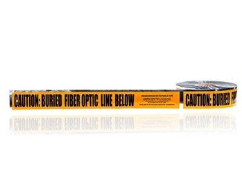 Detectable Underground Line Tape, LegendCaution Buried Fiber Optic Line Below, 1000 Length x 3 Width, Orange