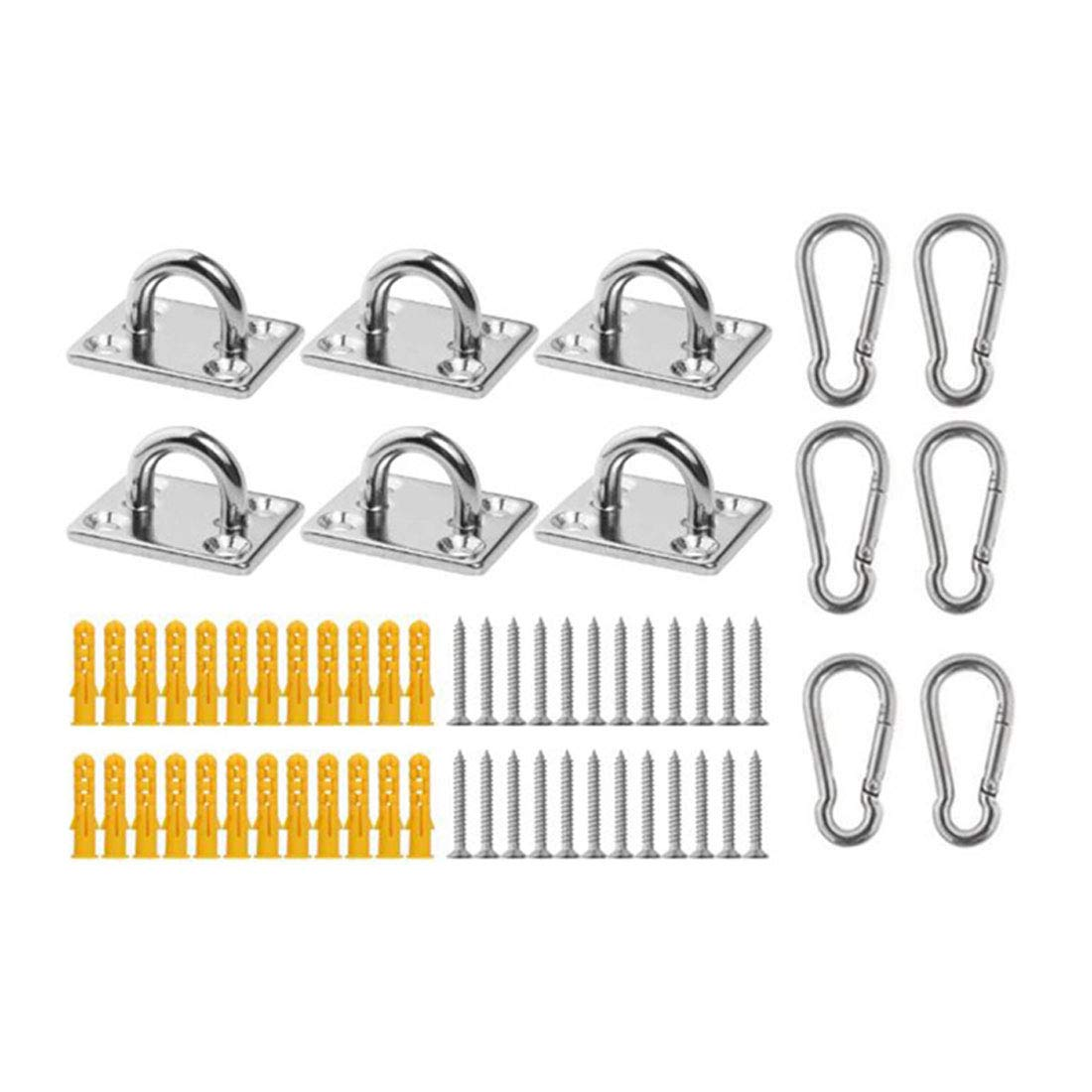 HiiBaby Stainless Steel Hook Loop U-Shaped - Heavy Duty Wall Ceiling Hammock Hooks Hanger for Swing Suspension(6 U Ceiling Button+6 Spring Clasp+24 Screw+24 Anchor)