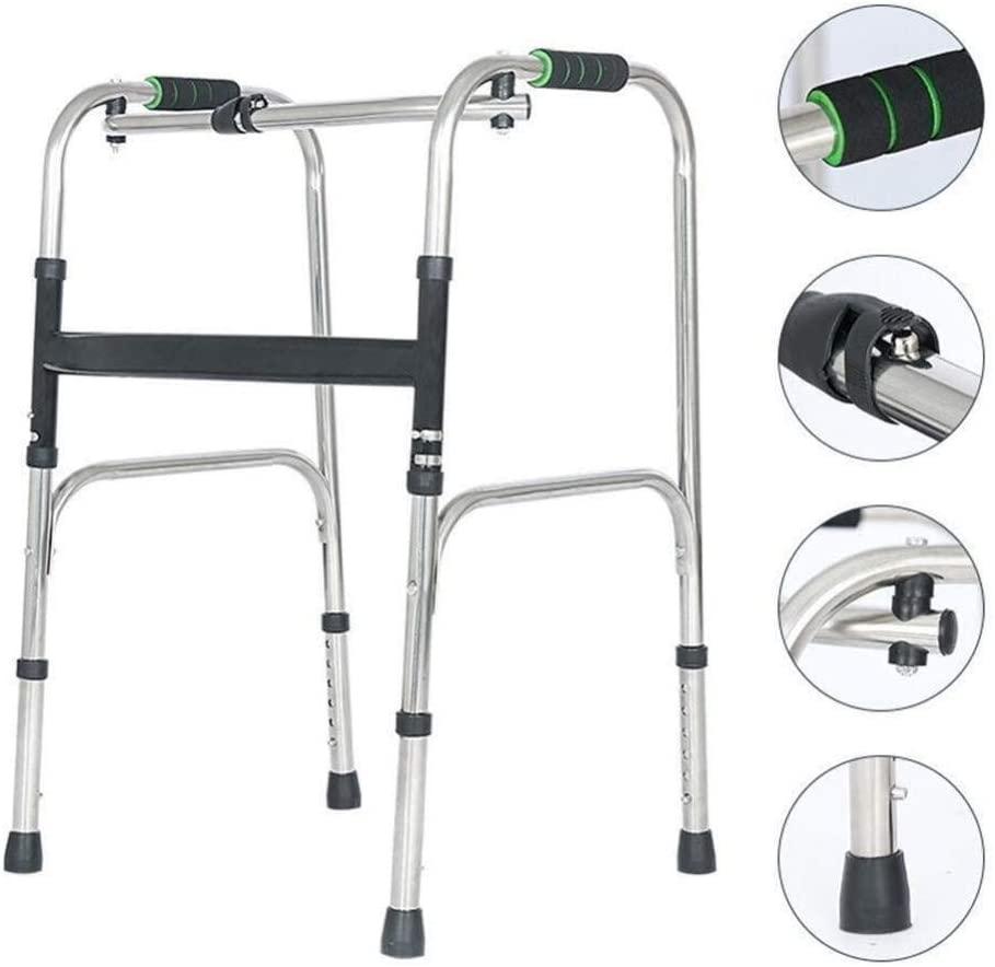 HTLLT Walking Aid Medical Instruments Elderly Standard Walker Medical Walking Frame Lightweight Foldable Four Feet Crutch Auxiliary Elderly Disabled Height Adjustable for Bathroom Hospital
