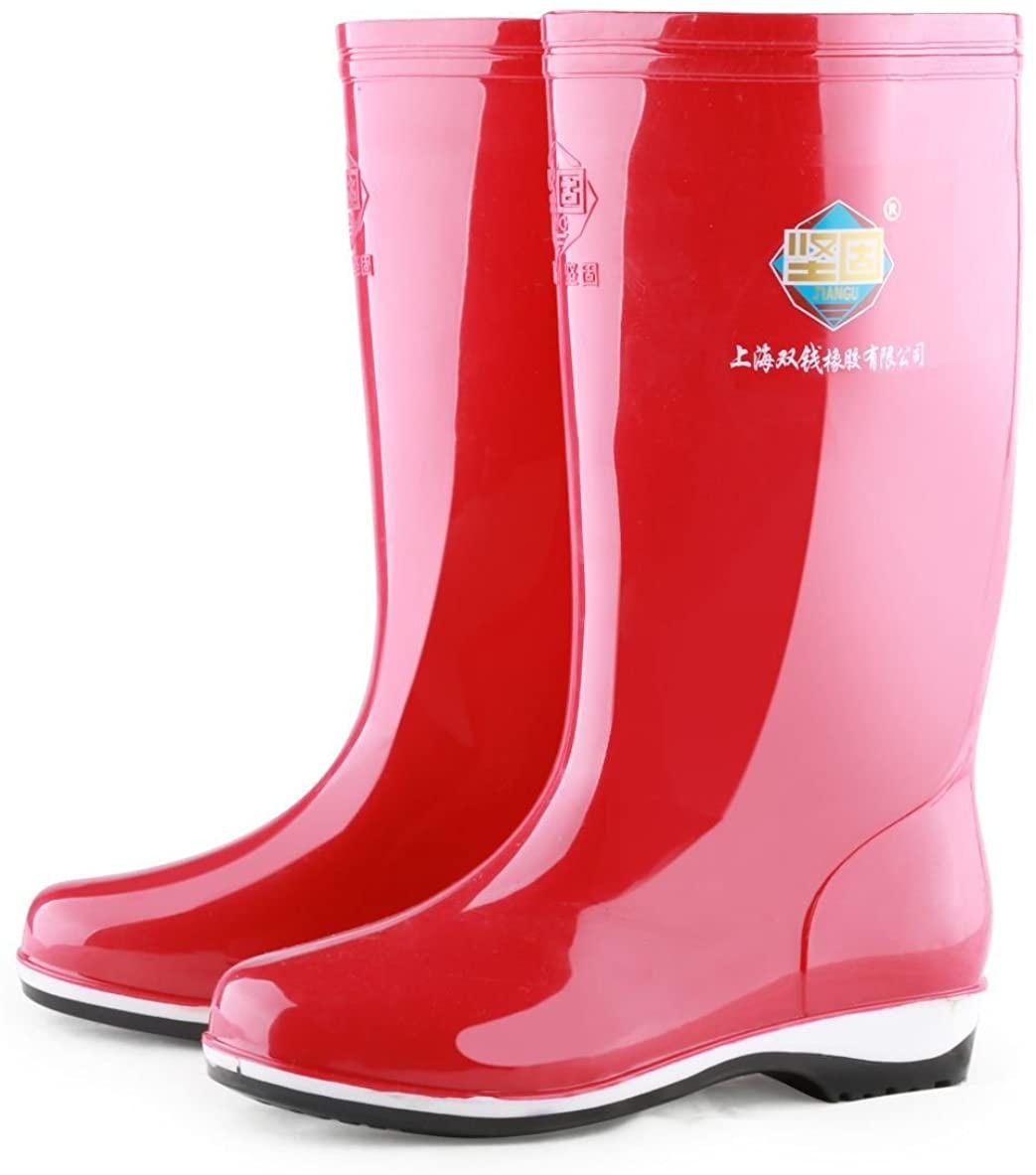 PVC Rain Shoes Womens Rain Boot, Size9, Red