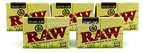 Raw Organic Hemp 1 1/2 Natural Unrefined Rolling Paper 5 Booklets
