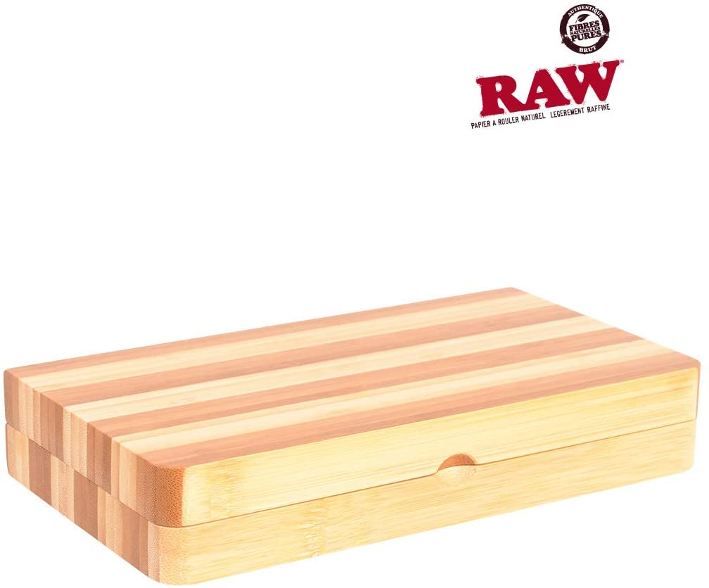 RAW Backflip Bamboo Magnet Rolling Tray (Limited Edition Striped) with Clear ES Scoop Card
