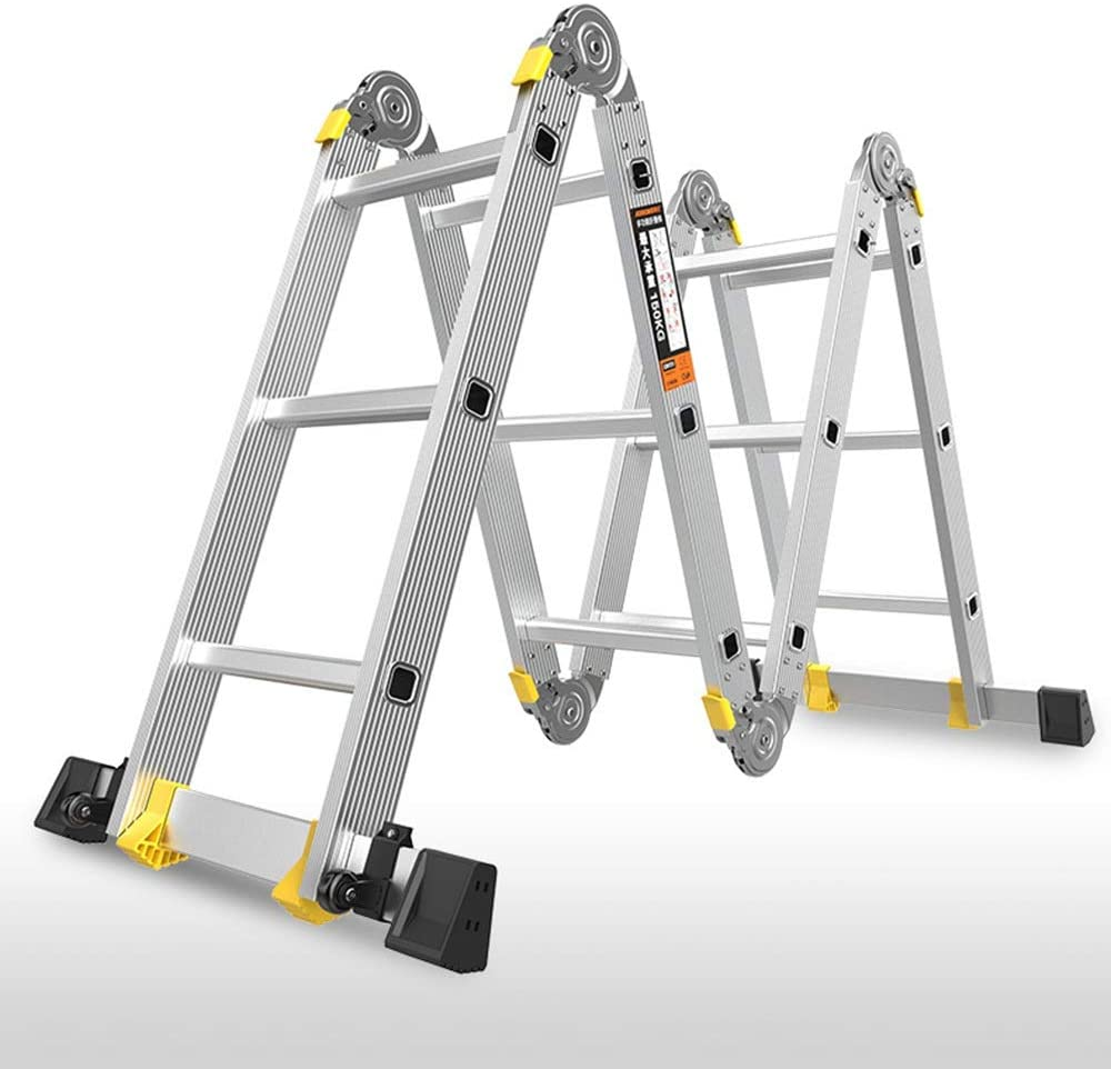 Telescoping Ladders ZR Aluminium Multi Purpose Folding Extension Ladder —Heavy Duty Combination Step,Manufactured to EN131, Up to 330lbs/150kg (Size : Straight 4.7m= Herringbone 2.3m)