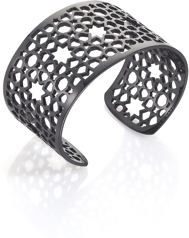 Merdinger's Quality Arabesque Mesh Bangle 18k Gold, Black Titanium, Stainless Steel, For Women