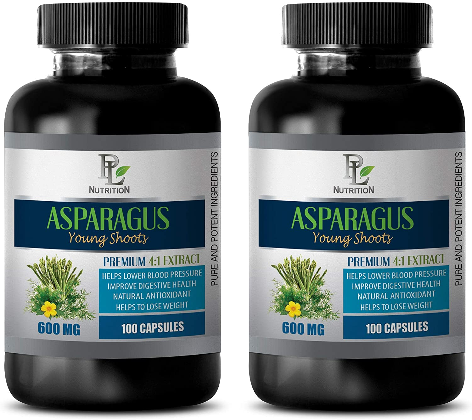 Heart Support Supplement - Asparagus Young Shoots Extract 600MG - Premium 4:1 Extract - antioxidant Pills - 2 Bottles 200 Capsules