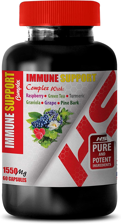 Improve Brain Memory - Immune Support Complex 1550 Mg with Raspberry Green Tea Turmeric GRAVIOLA Grape Pine BARK - Green Tea Extract Capsules - 1 Bottle 60 Capsules