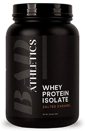 Bad Athletics Grass Fed 100% Whey Protein Isolate, Salted Caramel - Five Ingredients, 20g of Protein, Naturally Flavored & Sweetened(30 Servings)