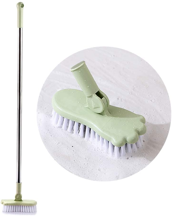 GEDUORIE Floor Cleaning Brush Long Handle Scrub Brush Supplice to Clean Tile - Lightweight Adjustable Brush Tools for Bathroom,Kitchen, Countertop and Sink (Green)