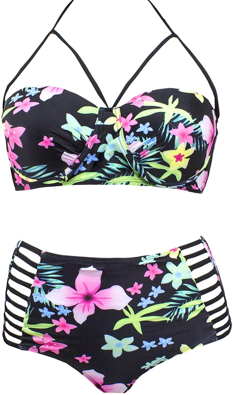 SAY Styles All Yours Womens Trendy Plus Size Lattice Flounce Bikini Set Fashion Flounce Swimsuit Bathing Suit Beach Swimwear