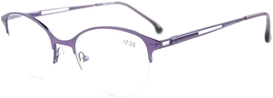Eyekepper Quality Spring Hinges Half-Rim Cat-Eye Style Reading Glasses Purple +1.75