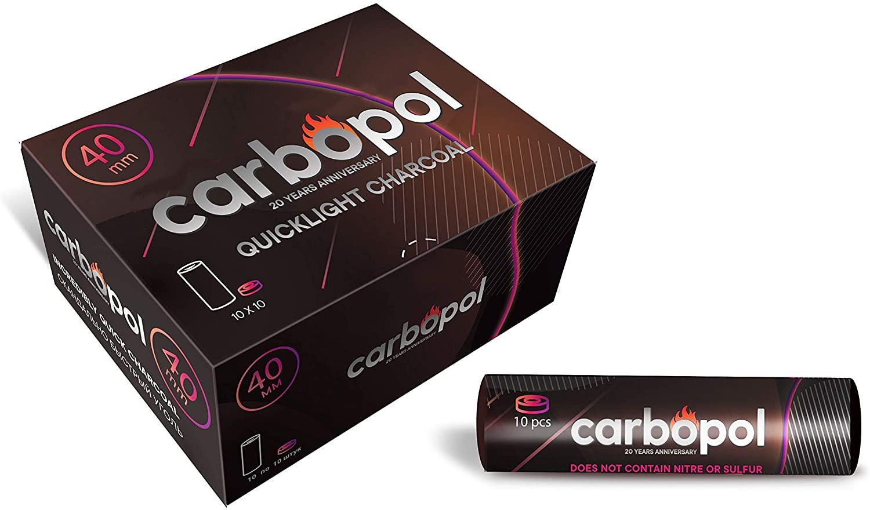 Carbopol 40mm Quick Light Hookah Charcoal 100pcs