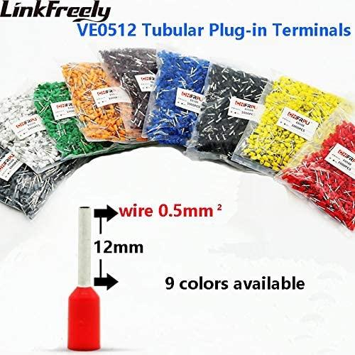 Onvas 1000pcs VE0512 E0512 Tubular Insulated Electrical Wire Terminal Lug Connector Faston Cable Heat Shrink Splice Terminal Crimp Pin - (Color: Black)