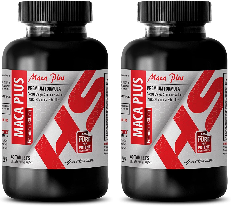 Energy Supplements for Women - MACA Plus 1300MG - Premium Complex - maca Capsules for Fertility - 2 Bottles (120 Tablets)