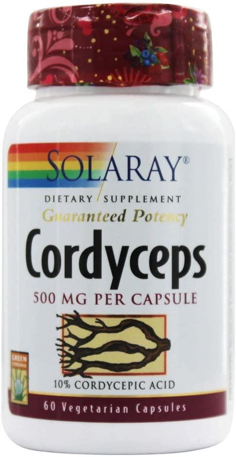 Solaray Guaranteed Potency Mushroom, Cordyceps Extract, Veg Cap (Btl-Plastic) 500mg | 60ct