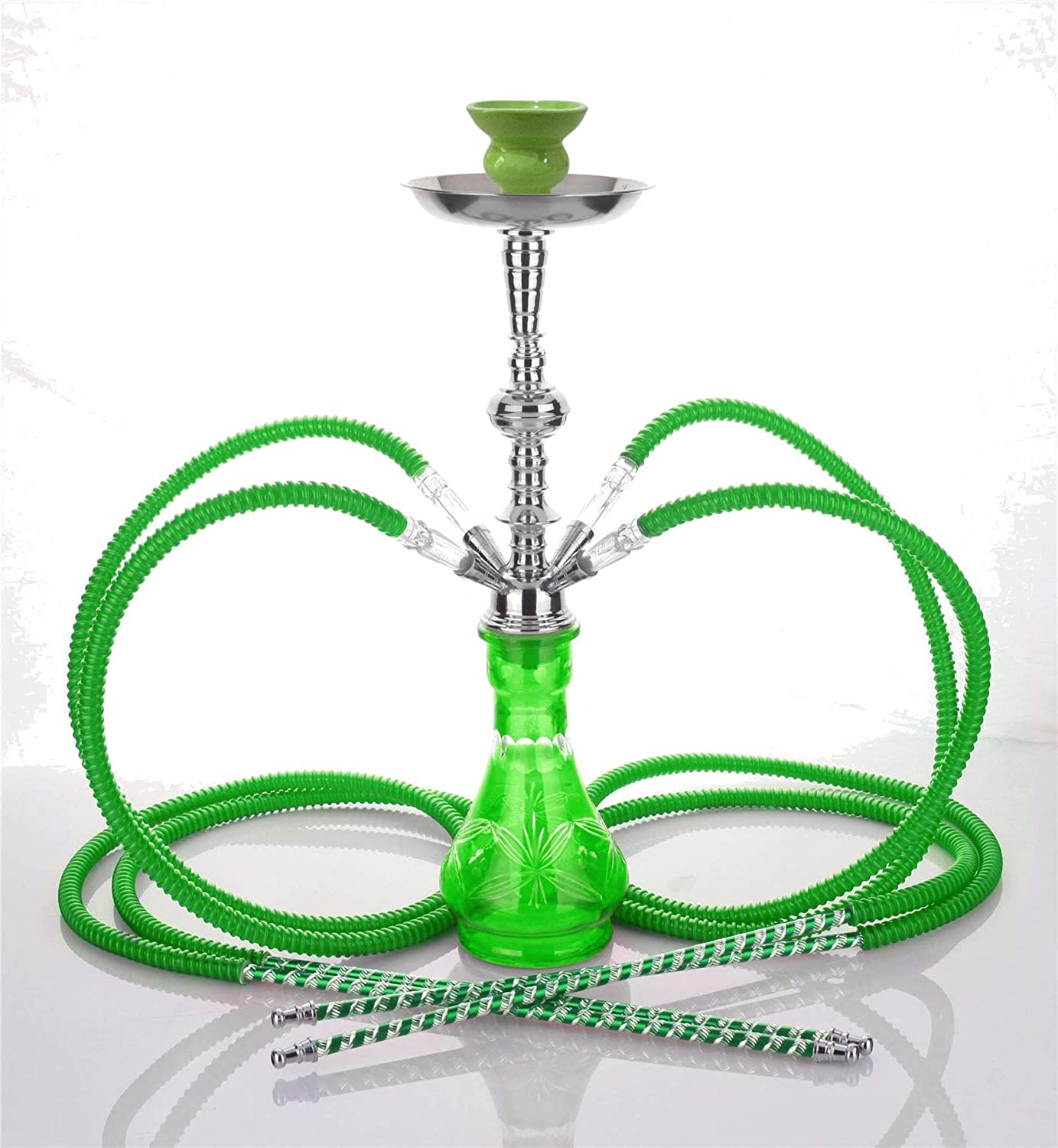 Medium Green 4 Hose hooka - no Tobacco no Nicotine sheesha - no Tobacco no Nicotine Pipe hooka - no Tobacco no Nicotine