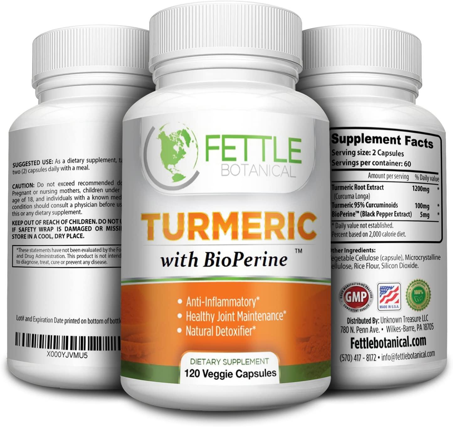 Tumeric Curcumin with Bioperine 1300mg Daily Dose 120 Caps Black Pepper Extract Piperine Tumerics Turmeric Supplements Natural Antioxidant Veggie Capsules Curcuma Longa Supplement Fettle Botanical