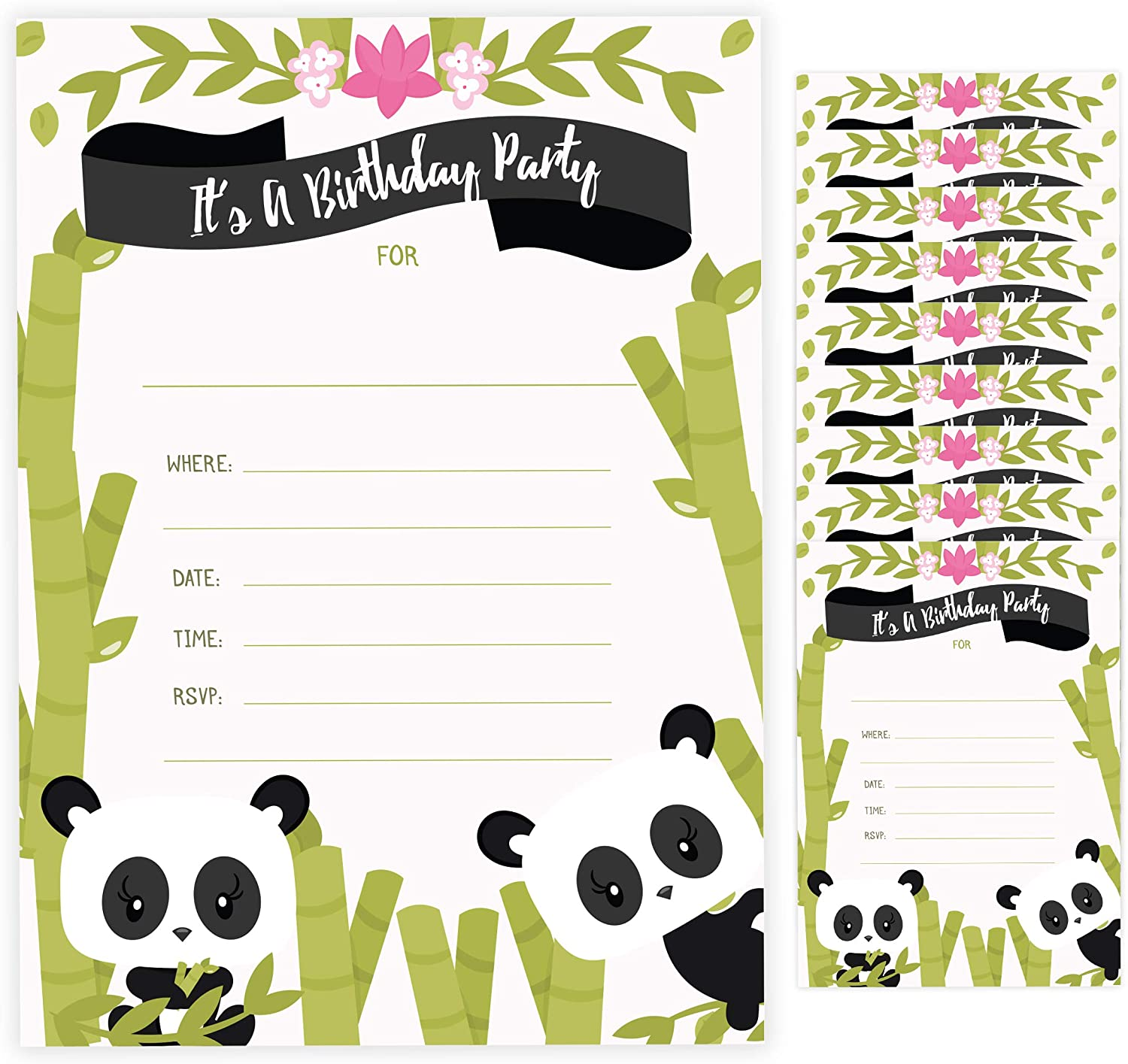 Panda Happy Birthday Invitations Invite Cards (10 Count) with Envelopes Boys Girls Kids Party (10ct)