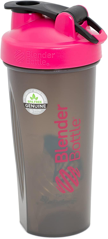 BlenderBottle Full Color Bottles - New Black Translucent Color with Shaker Ball - Pink - 28oz