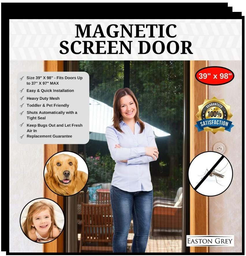 Easton Grey Magnetic Screen Door Bug Screens: Door Screen with Strong Magnets, Reinforced Heavy Duty Mesh Curtain - Keeps Out Insects - Kid & Pet Friendly - Fits Doors Up to 37