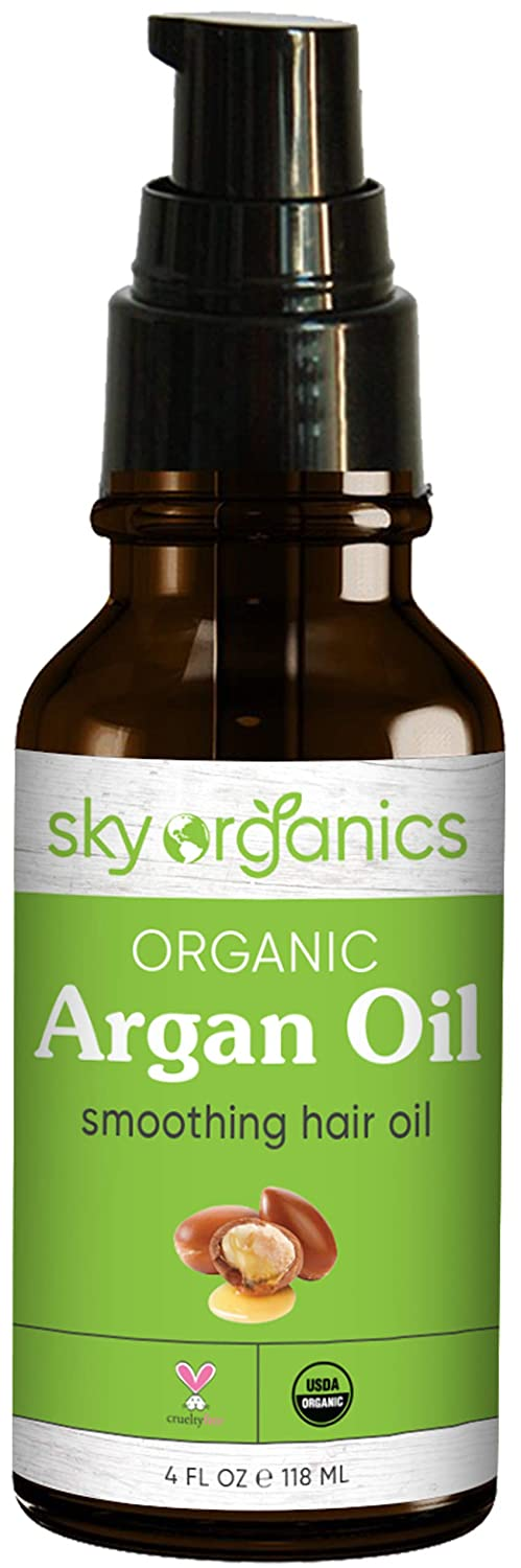 Best Organic Moroccan Argan Oil (4oz) By Sky Organics: Unrefined 100% Pure Cold-pressed Organic Argan Oil From Morocco Moisturizing & Healing, for Dry Skin, Hair Conditioning