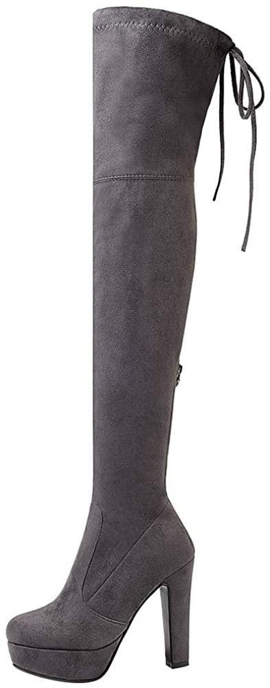 FANIMILA Women Fashion High Heel Over Knee Boots Pull On