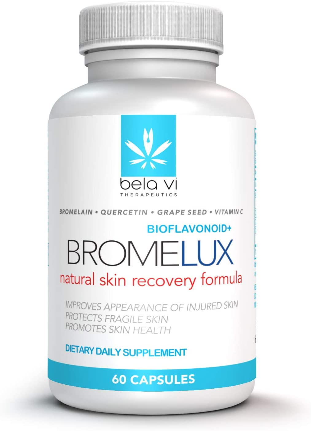 BROMELUX Anti-Bruising Supplement I Bromelain & Quercetin Complex: Swelling & Bruise Relief, Natural Anti-Inflammatory Treatment I for Daily Care & Recovery After Surgery & Skin Trauma I 60 Capsules