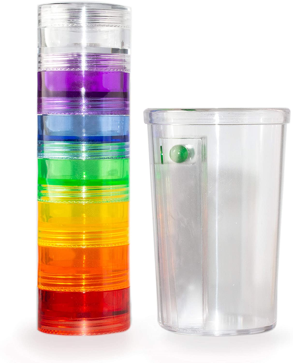 GMS 7 Day Stackable Tritan Plastic Pill Case + GMS Pill Takers Cup - Easily Manage Your Medications, Pills, and Vitamins!