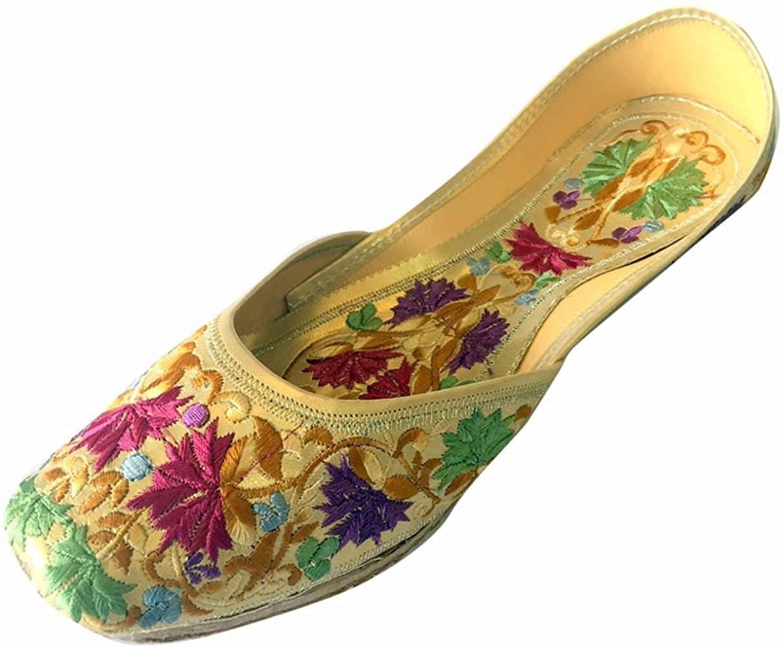 Step n Style Women's Leather Flat Phulkari Shoes