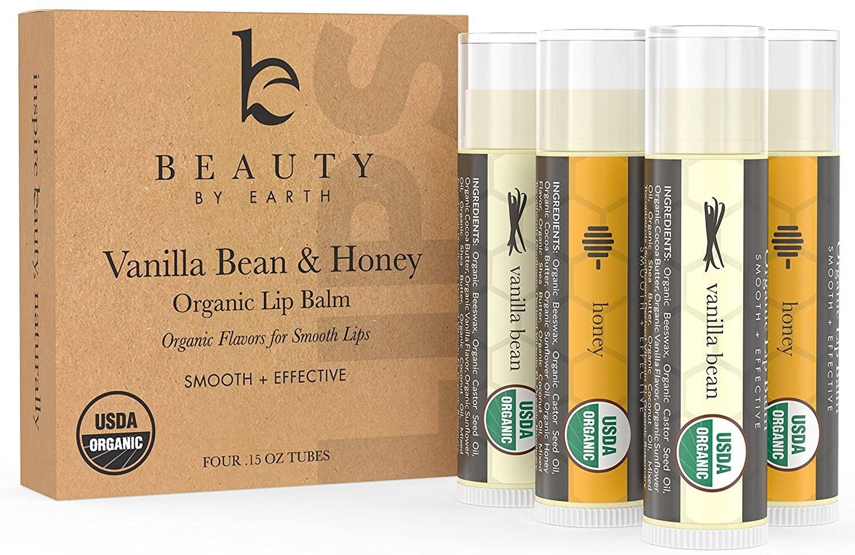 Organic Lip Balm Honey Vanilla - 4 Tubes of Natural Lip Balm, Lip Moisturizer, Lip Treatment for Dry Lips, Lip Care Gifts for Women or Men, Lip Repair, Organic Chapstick, Stocking Stuffer Ideas