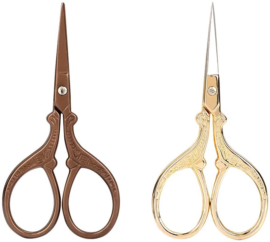 2Pcs Vintage Eyebrow Trim Scissors Professional Stainless Steel Safety Use Scissors for Women Eyebrows Eyelashes Ear Hair
