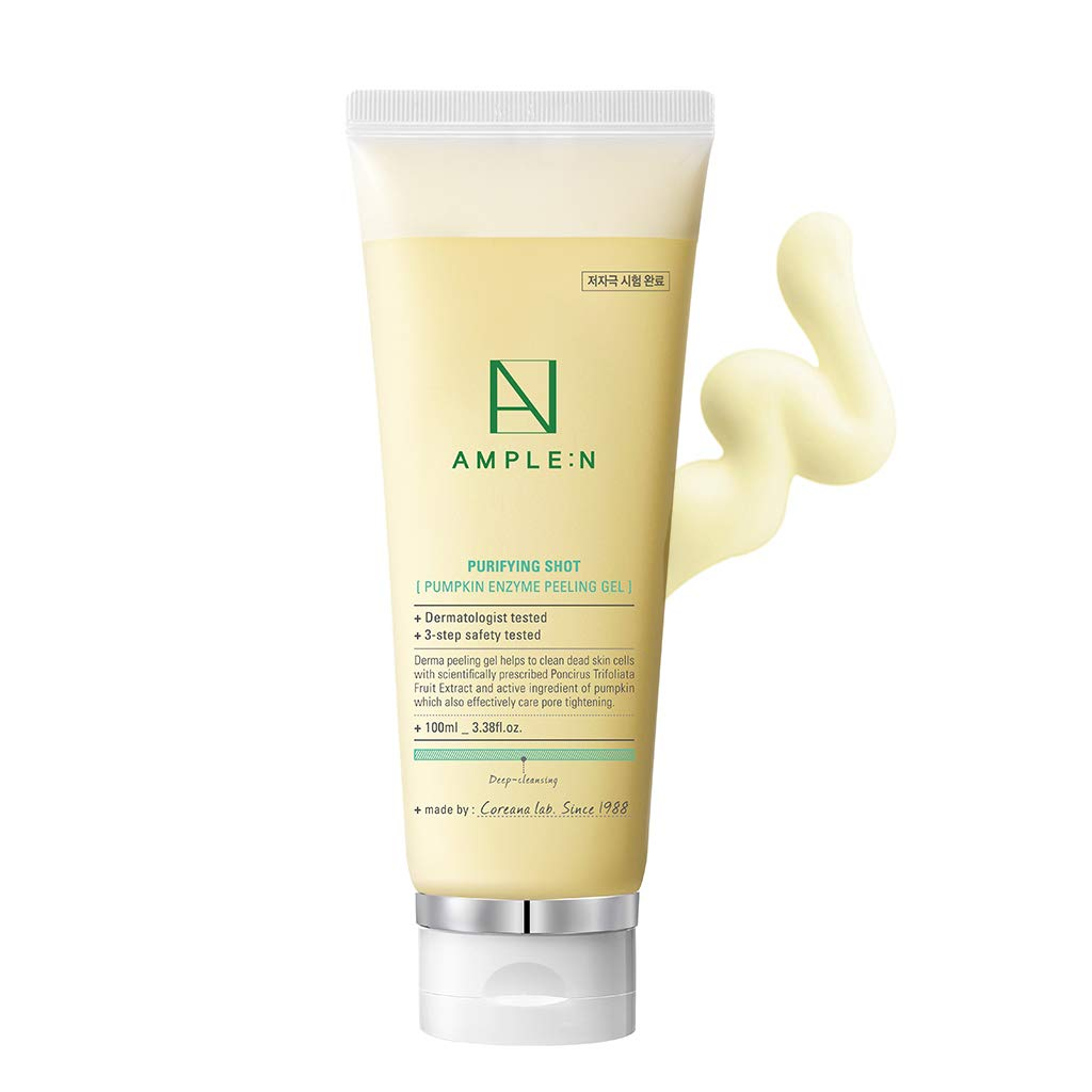 [AMPLE:N] Purifying Shot Pumpkin Enzyme Peeling Gel 100ml (3.38 fl.oz.) - Pumpkin & Centella Asiatica Extract Contained BHA Facial Exfoliating Gel, Gommage Facial Scrub for Oily and Sensitive Skin