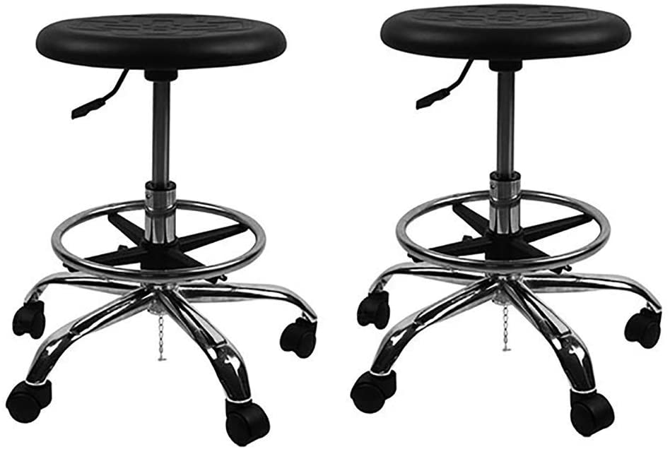 PLLP Bar,Cafe,Restaurant Chair,Bar Stool, Work Bench, Work Stool, High Stool, Non-Slip Cushion 5 Rotations Salon Hair Salon Office Anti-Static Stool Lifting 47-60Cm Black,Black×2