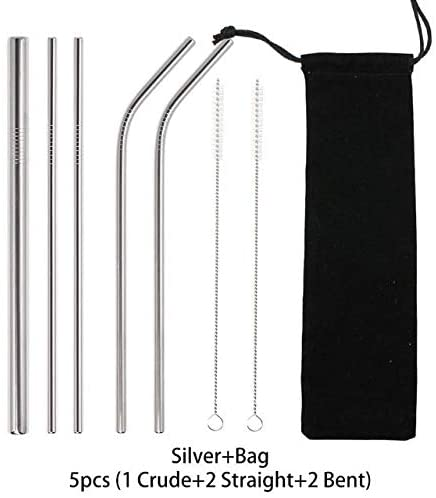14 pcs Metal Reusable 304 Stainless Steel - Straws Straight Bent - Drinking Straw With Brush Set - Pack: 04 Silver 5pcs
