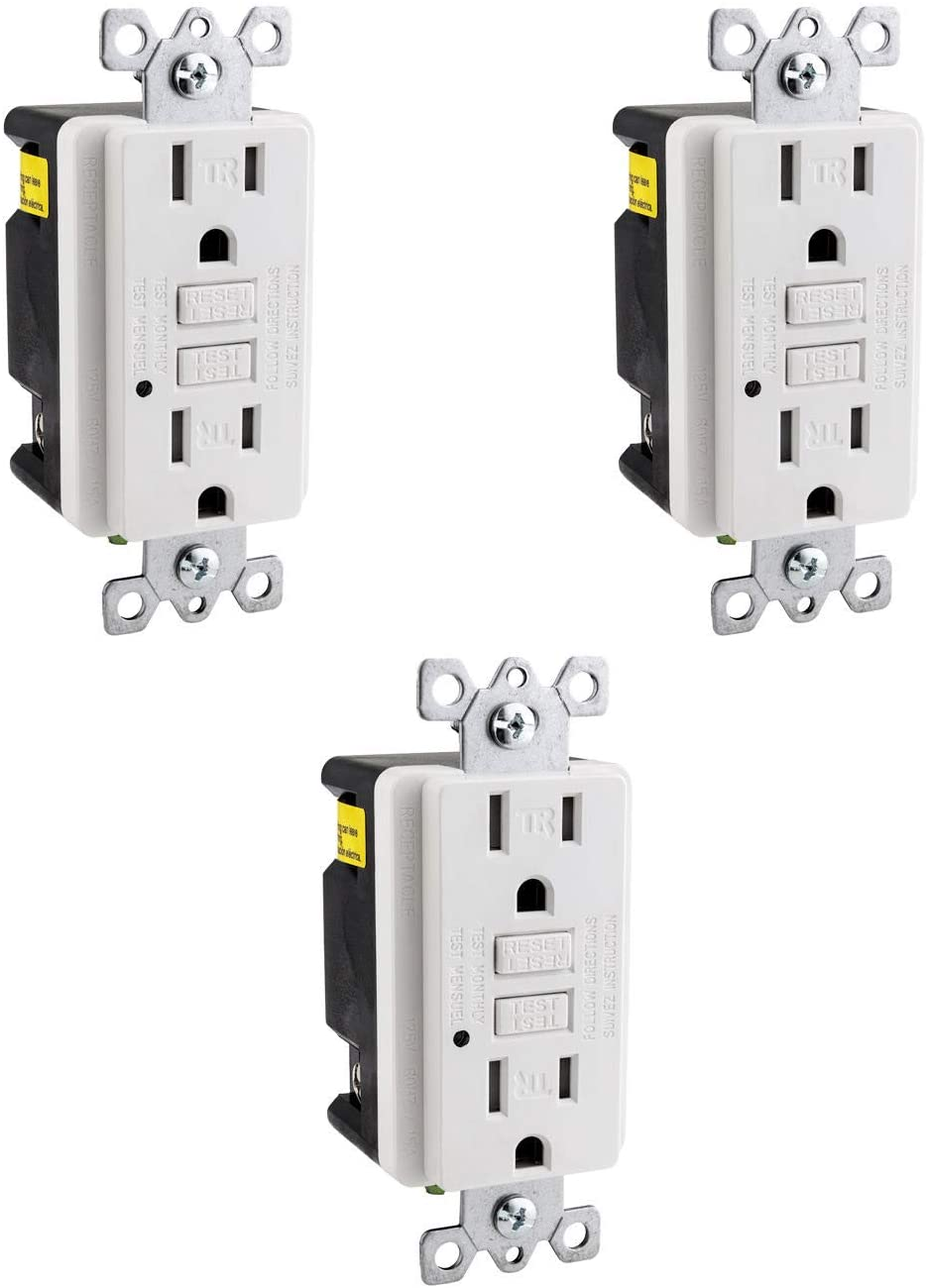 Sunlite 41441-SU GFCI Duplex Outlet 20 Amp, 120 VAC, 2 Pole/3 Wire, Tamper Resistant, Self Testing, Wallplate Included, ETL Listed, 3 Pack
